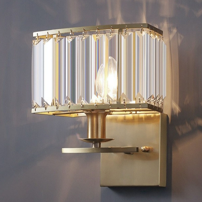 Post-Modern Rectangle Wall Light Prismatic Crystal Single Living Room Sconce Lamp in Gold