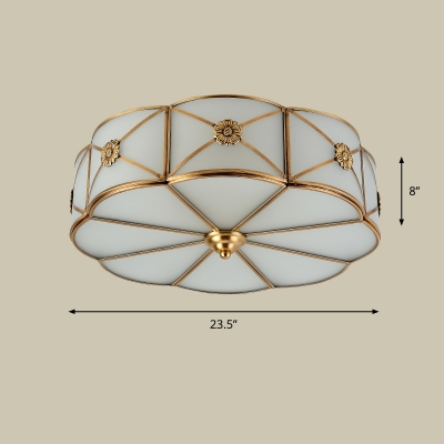 White Glass Scalloped Ceiling Mount Light Traditional Sitting Room Flush Mount Fixture in Brass