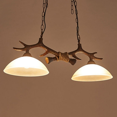 2-Light Antler Island Lighting Rustic Dark Coffee Resin Hanging Lamp with Bowl Frost Glass Shade