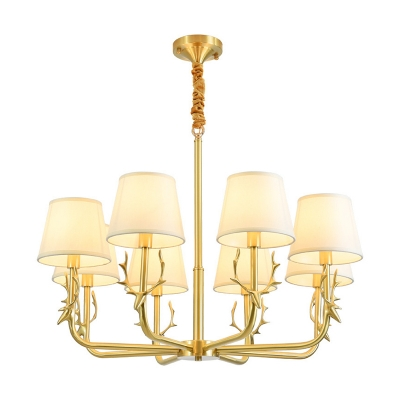 Brass Plated Ceiling Chandelier Rustic Metal Deer Pendant Lighting with Tapered Fabric Shade