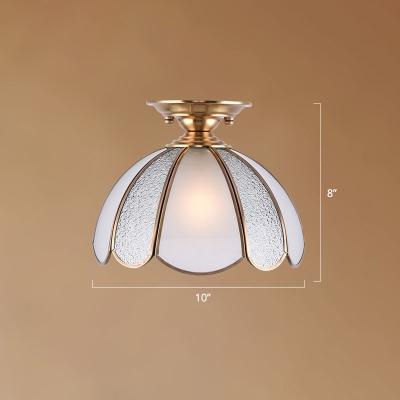 Domed Water Glass Flush Ceiling Light Traditional 1 Head Living Room Flushmount Lighting