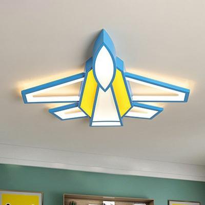 Plane Boys Bedroom LED Flush Mount Lamp Metallic Cartoon Ceiling Light Fixture in Yellow
