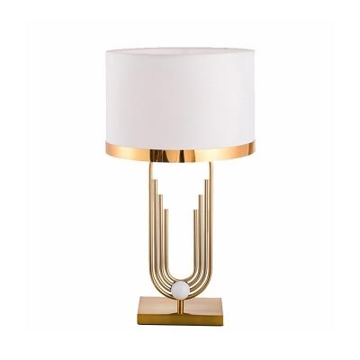 Round Fabric Table Light Traditional Single-Bulb Bedside Nightstand Lighting with Metallic Base