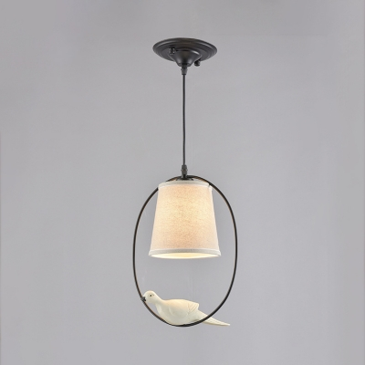 Rustic Tapered Pendant Light Kit Single-Bulb Fabric Hanging Lamp with Decorative Bird and Ring