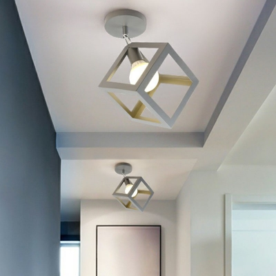 1-Bulb Semi Flush Mount Lighting Modern Foyer Ceiling Light with Geometric Metal Cage