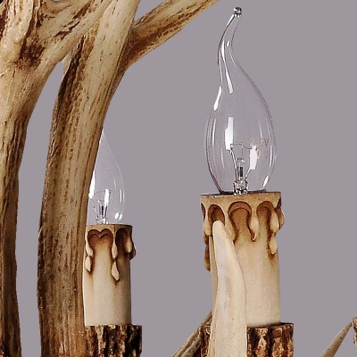 Antler Shaped Resin Chandelier Farmhouse Style Dining Room Hanging Ceiling Light