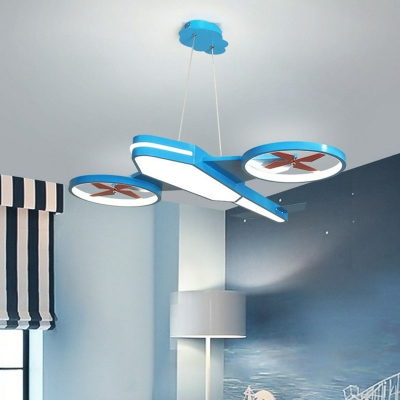 Creative Airplane LED Hanging Pendant Acrylic Kids Bedroom Chandelier with Propeller Deco