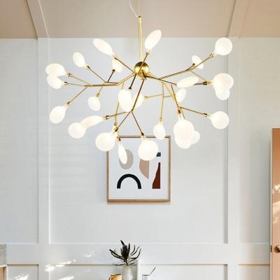 Leafage LED Chandelier Pendant Simplicity Acrylic Gold Finish Hanging Light Fixture