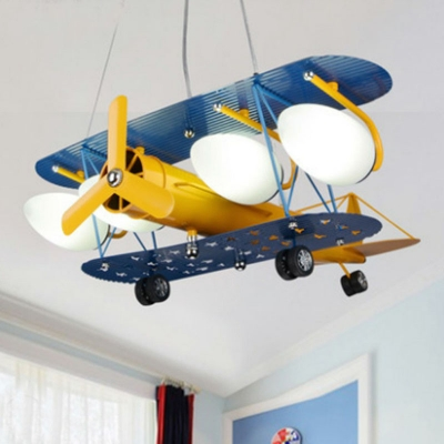 Metal Biplane Chandelier Pendant Kids 4-Light Yellow and Blue Ceiling Light with Ellipse Milk Glass Shade