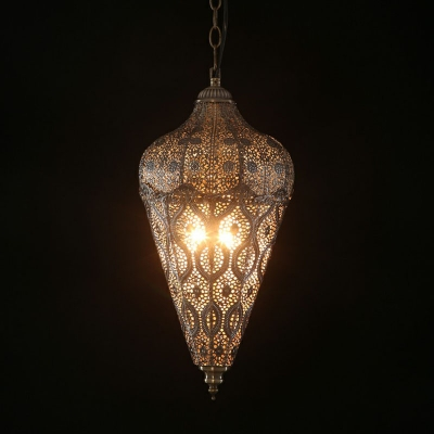 Metal Teardrop Shaped Etched Pendant Light Moroccan Style 1 Bulb Living Room Hanging Light in Bronze