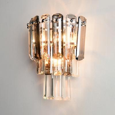 Tiered Tapered Wall Lighting Minimalistic Crystal 3-Bulb Living Room Wall Mount Light