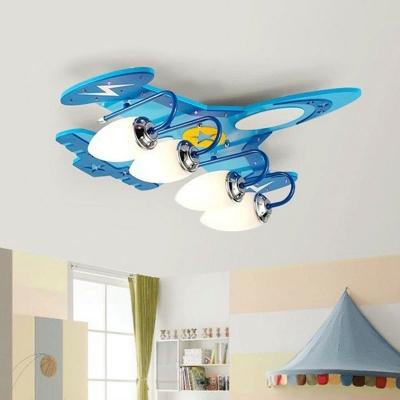 Wooden Airplane Ceiling Flush Mount Light Kids Blue Flush Light Fixture with White Glass Shade