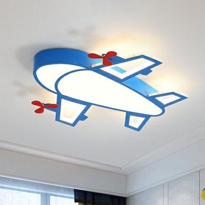 Airplane Acrylic LED Flushmount Ceiling Lamp Cartoon Blue Finish Flush Light Fixture for Kids Bedroom