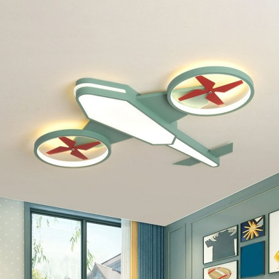 Airplane Childrens Bedroom Ceiling Fixture Metal Simplicity LED Flush Mount Lighting in Warm Light