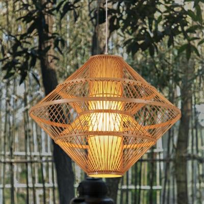 Contemporary Hand-Weaving Ceiling Light Bamboo Single Dining Room Pendant Light Fixture