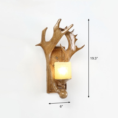 Cylindrical Opal Frosted Glass Wall Lamp Country 1-Light Study Room Sconce Light with Antler Deco