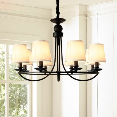 Empire Shade Fabric Hanging Light Traditional Style Living Room Chandelier in Black