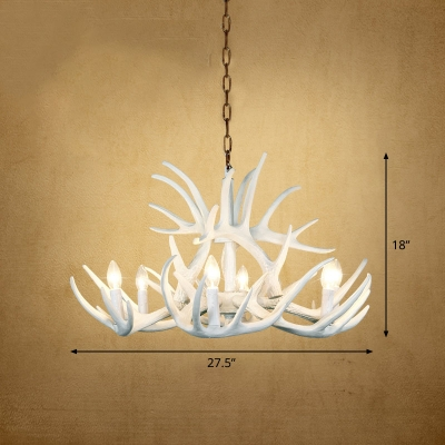 Hanging Chandelier Farmhouse Artificial Antler Resin Pendant Light for Dining Room