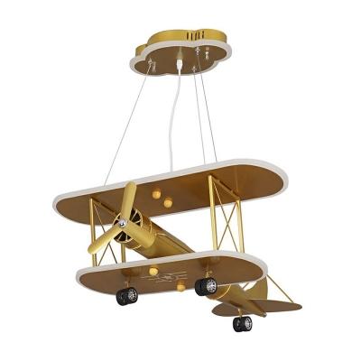 Yellow Finish Biplane Pendant Lighting Childrens LED Metal Ceiling Chandelier for Playroom