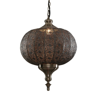 1 Head Hollowed-out Lantern Hanging Light Moroccan Bronze Metal Ceiling Pendant Lamp