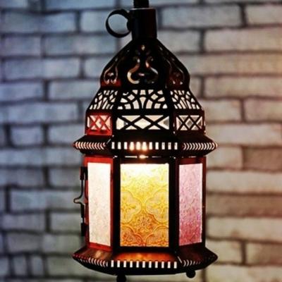 Black Lantern Hanging Lighting Vintage Hand-Crafted Glass Single Dining Room Pendulum Light