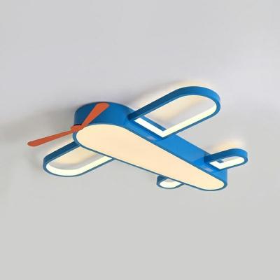 Plane Shaped LED Flush Mount Lighting Kids Acrylic Blue Ceiling Mount Light for Bedroom