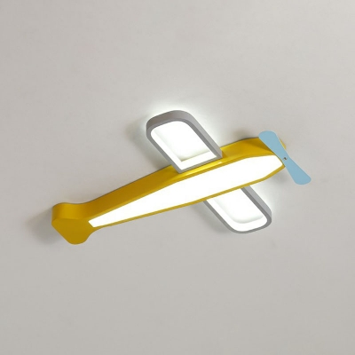 Simplicity Airplane Shaped LED Ceiling Light Metal Kids Bedroom Flush Mount Lamp in Yellow