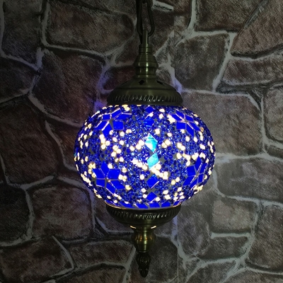 1 Bulb Ceiling Hanging Lantern Moroccan Sphere Stained Glass Pendant Light over Table