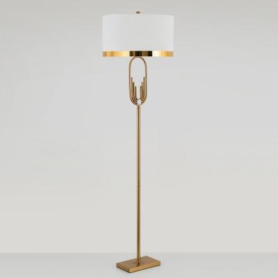 1-Light Standing Light Minimalist Round Fabric Floor Lamp in Brass for Living Room