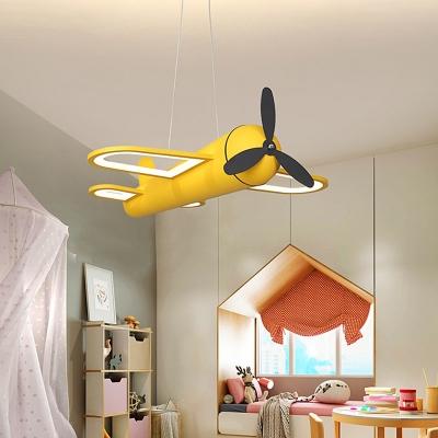 Cartoon Plane Suspension Lighting Metal Kindergarten LED Chandelier Pendant Light