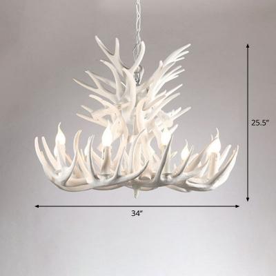 Faux Antler Living Room Chandelier Rustic Resin Hanging Light Fixture with Open Bulb Design