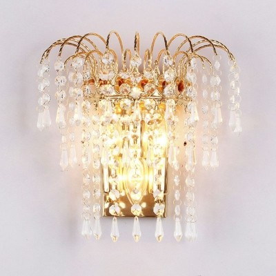 Gold Plated 3-Tiered Wall Light Sconce Modern 3-Bulb Crystal Strand Wall Mounted Light Fixture
