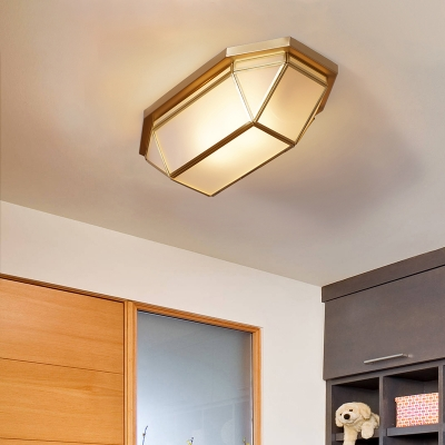 Trapezoid Glass Flush Mounted Light Minimalistic 2-Bulb Bedroom Ceiling Light Fixture in Brass