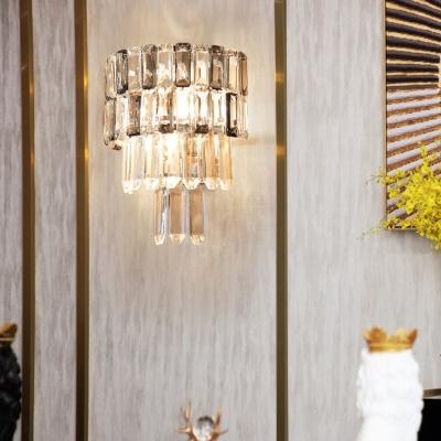 4-Tier Wall Lighting Modern Clear Crystal Rectangle 2 Bulbs Corridor Wall Light Kit