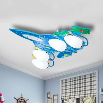 Blue Jet Plane Ceiling Flush Light Kids 4-Light Wooden Flush Mount Fixture with Oval Milk Glass Shade