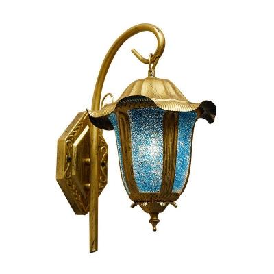 Brass Bell Lantern Wall Sconce Rustic Lake Blue Glass Single Dining Room Wall Mount Light