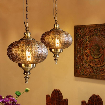 Bronze Hollowed-out Ceiling Hanging Lantern Arabic Metal Single Dining Room Pendant Light