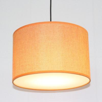 Cylinder Fabric Ceiling Hang Lamp Retro 1-Light Dining Room Pendant Light Fixture