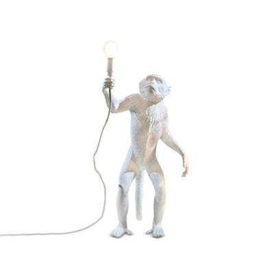 Decorative Monkey Floor Lighting Resin 1 Bulb Living Room Standing Lamp in White