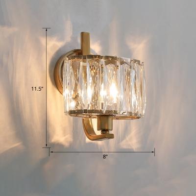 Geometric Crystal Block Wall Light Postmodern 1 Head Gold Finish Sconce Light for Living Room