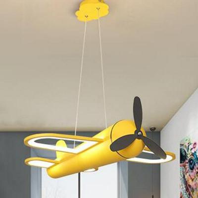 Metallic Airplane Chandelier Lighting Kids LED Pendant Light Fixture for Playroom