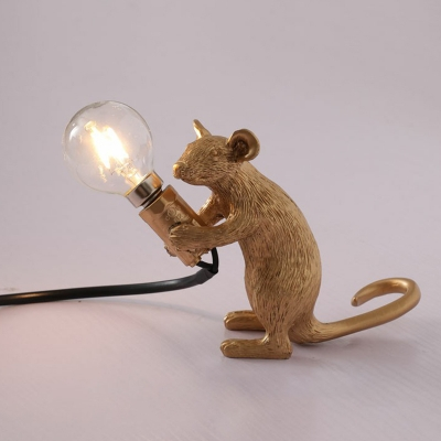 Mouse Night Lamp Childrens Resin 1 Head Bedroom Table Light with Open Bulb Design