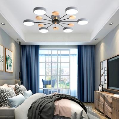 Nordic Sputnik LED Ceiling Lamp Acrylic Bedroom Semi Flush Mount Light Fixture with Wood Decor