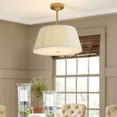 Pleated Fabric White Chandelier Empire Shade Minimalist Hanging Ceiling Light for Bedroom