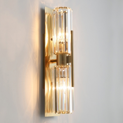 Postmodern Geometric Wall Mount Light Cut-Crystal Living Room Sconce Lamp in Gold
