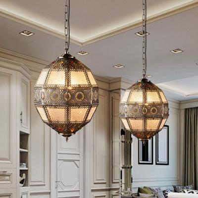 Bronze Spherical Pendulum Light Turkish Metal 3-Bulb Bistro Carved Ceiling Light