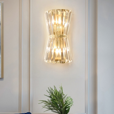 Clear Crystal Hourglass Shaped Wall Light Modern 2-Light Gold Finish Wall Sconce