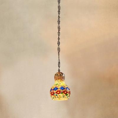 Gourd Shaped Stained Art Glass Pendant Light Turkish Style Single Restaurant Suspension Light