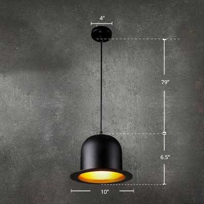 Hat Shaped Pendant Light Contemporary Iron 1 Head Restaurant Suspension Light Fixture in Black