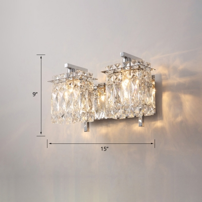 Rectangular Beveled-Cut Crystal Sconce Light Contemporary Wall Mount Lighting for Bedroom